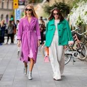 pants,wide-leg pants,coat,boots,handbag,sunglasses,dress,white blouse