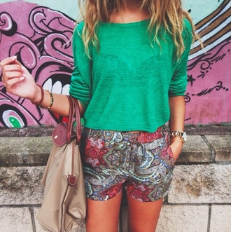 shorts aztec green watch bag green shirt green t-shirt pants aztec pants aztec shorts accessories accessory t-shirt shirt bracelets outfit gold jewelry jewels casual
