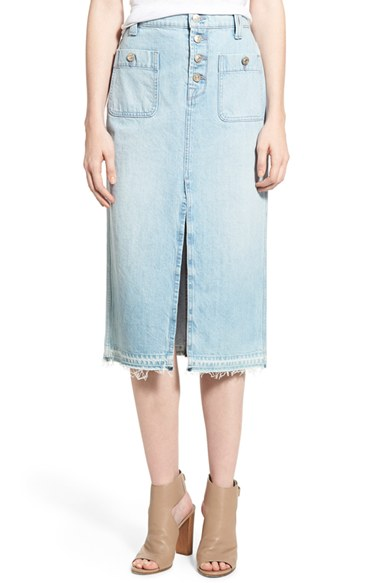For All Mankind® Cutoff Denim Midi Skirt (Cool Cloudy Blue ...