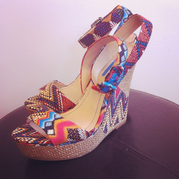 shoes wedges bcbgeneration colorful ikat platform sandals platforms, summer, sandals, girly