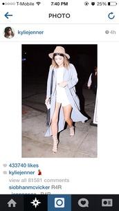 shoes,kylie jenner,gladiators,beige shoes,beige sandals,hat,coat,kylie kenner,instagram,blue,beautiful