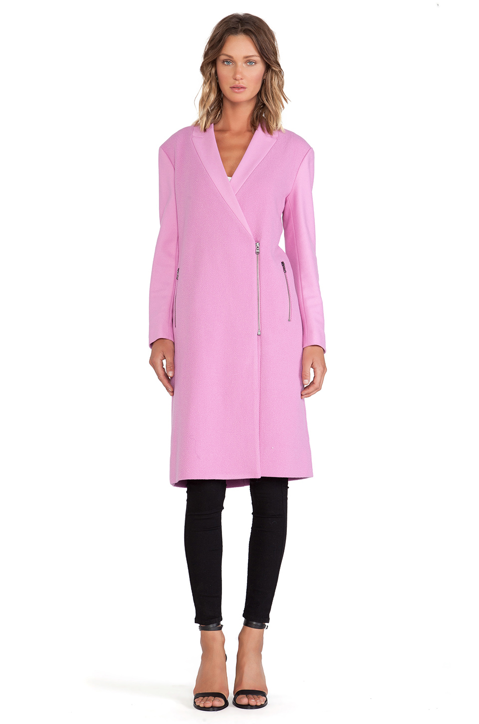 Tibi Boucle Long Coat in Pink from REVOLVEclothing.com