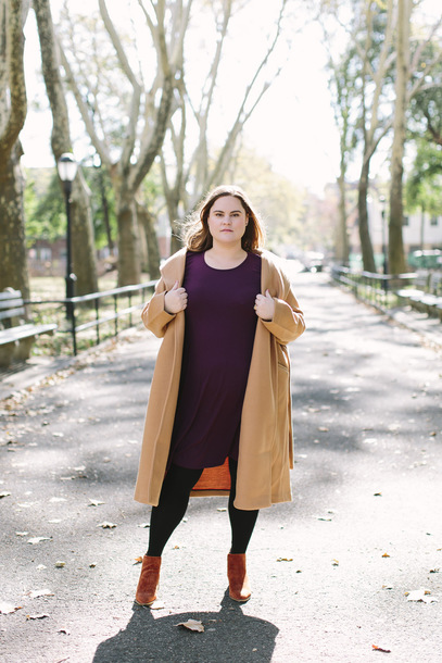 acupofjo blogger sweater dress tights shoes bag jewels fall outfits winter outfits ankle boots plus size