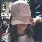 hat,cap,pink,babe,snapback