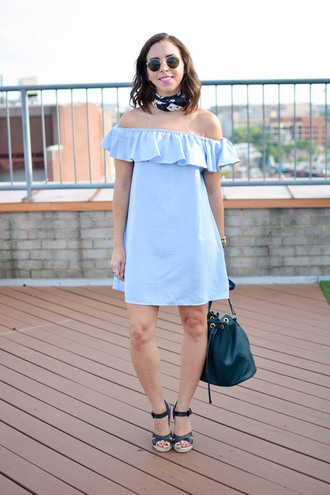 oh va darling blogger scarf bag shoes sunglasses off the shoulder blue dress mini dress aviator sunglasses round sunglasses blue bag wedges date outfit bardot dress baby blue bucket bag rayban ruffle ruffle dress short dress wedge sandals black sandals summer dress summer outfits