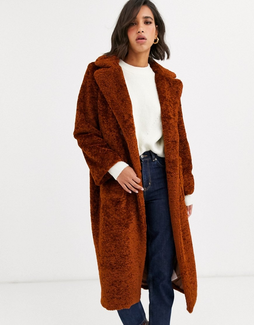 Y.A.S oversized teddy coat in rust