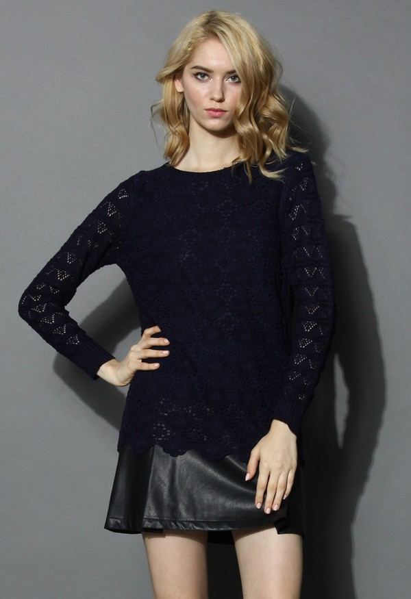 chicwish floral crochet hollow navy