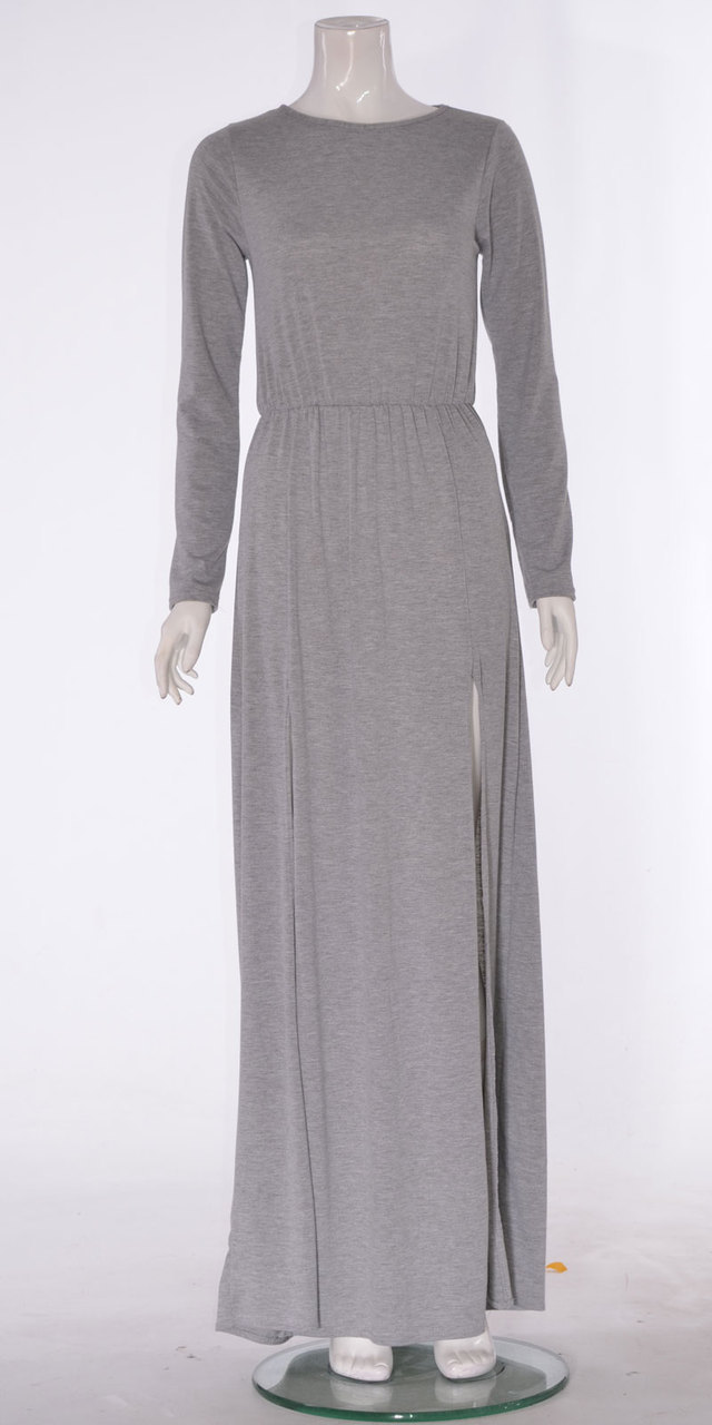 Ladies long sleeve two sides split front maxi dress in grey s/m , m/l