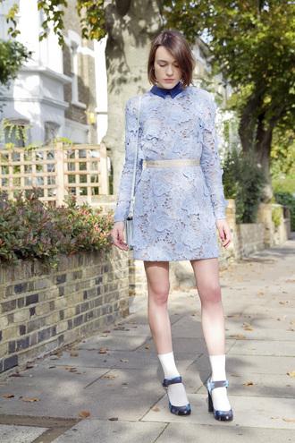 la petite anglaise blogger bag jewels socks preppy light blue heels lace dress collar collared dress