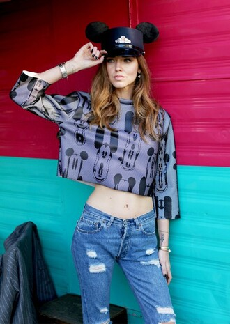 top mickey mouse disney crop tops long sleeve crop top hat black hat denim jeans blue jeans ripped jeans chiara ferragni the blonde salad