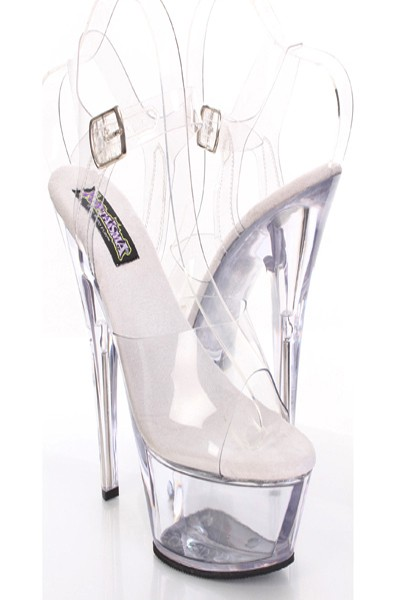 Clear plastic round open toes buckle platform heels / sexy clubwear
