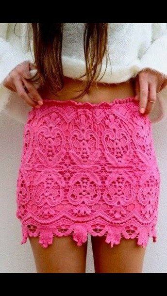 skirt hot pink lace skirt
