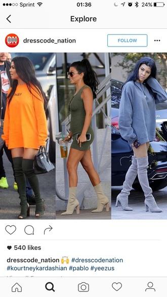 shoes kourtney kardashian boots thigh high boots sweater sweater dress