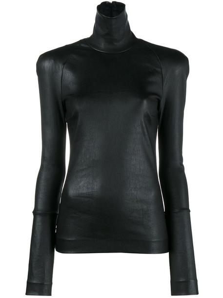 Haider Ackermann - Black leather turtleneck long sleeve top - women - Leather - XS, Leather