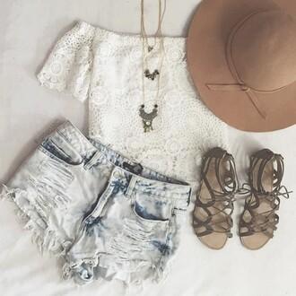 blouse white hair accessory hat shoes shorts top shirt lookbook store boho hat lace boho festival tank top t-shirt short