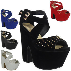 New Womens Ladies Strappy Platform Peeptoe Buckle Cutout Wedges Heels Shoes Size | eBay