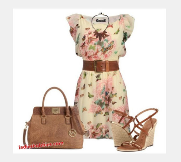 floral floral pattern dress short sleeves bag purse shoes clothes outfit floral dress high heels necklace short dress belt brown belt flowy sleeves wedge heels wedges