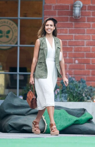 dress midi dress white dress jessica alba wedges vest purse jacket