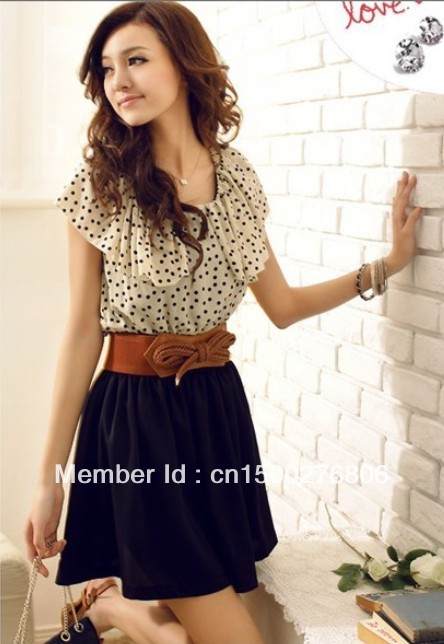 With Belt 2014 Summer New Fashion korean Chiffon Mini Dress women Short sleeve Dots Polka best selling casual  dresses-in Dresses from Apparel & Accessories on Aliexpress.com