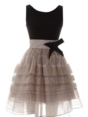 dress,organza dress for prom,round neckline and natural waistline,sleeveless dress with bowknot,mini train