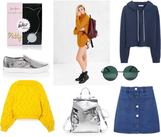 martina m blogger silver shoes mustard button up skirt denim skirt silver bag hoodie mustard sweater button up denim skirt