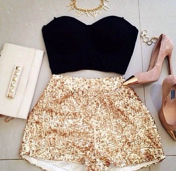 shorts gold shorts High waisted shorts shoes shirt jewels bag hot pants party summer pants crush pants gold