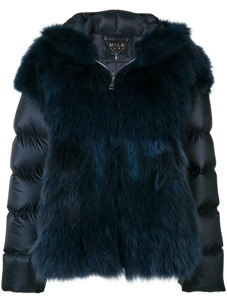 Cara Mila jacket fur jacket fur fox women blue