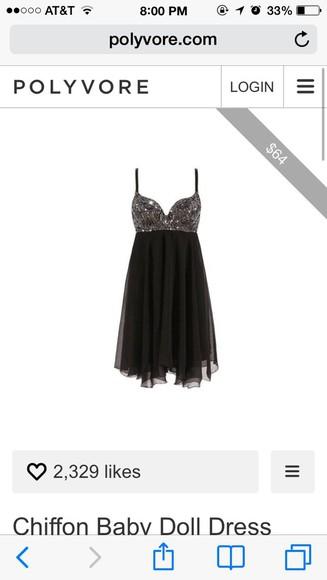 dress chiffon babydoll dress sequin dress black