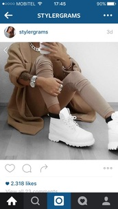 shoes,white winter shoes,leggings,brown leggins,coat,jacket,brown jacket,brown,luxury