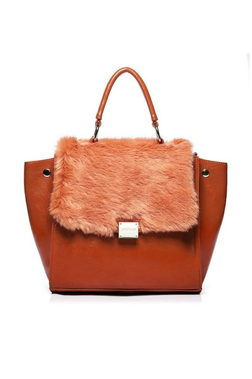 Phantom Series Fur PU Leather Bat Handbag [FPB654]- US$52.99 - PersunMall.com