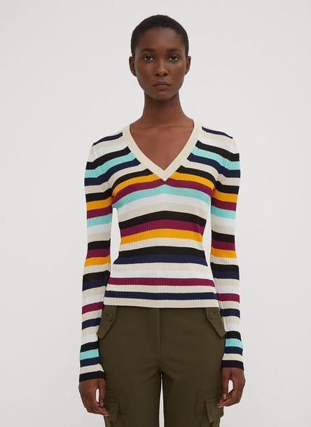 Altuzarra Burroughs Striped V-Neck Sweater in Beige size S