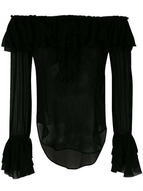 Twin-Set blouse ruffle women black top