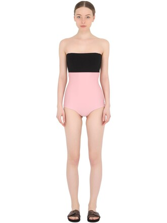 one piece swimsuit black pink swimwear