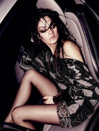 mini print mila kunis black dress white dress brown dress grey dress dress