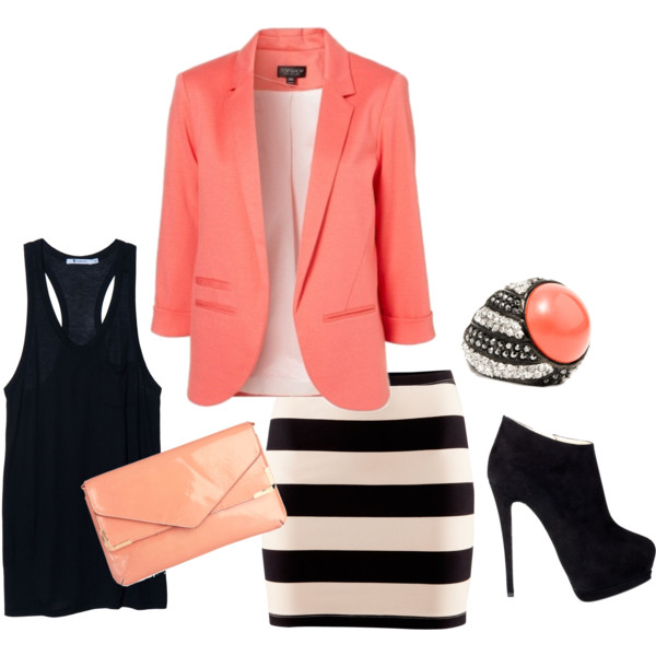 Black and white. and coral, of course.