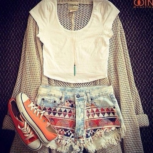 shorts aztec blouse t-shirt sweater shoes tribal pattern hipster high waisted short summer trendy teen denim high waisted denim shorts shorts, print, denim