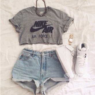 blouse t-shirt cropped nike air grey t-shirt grey's anatomy swag top style blvck