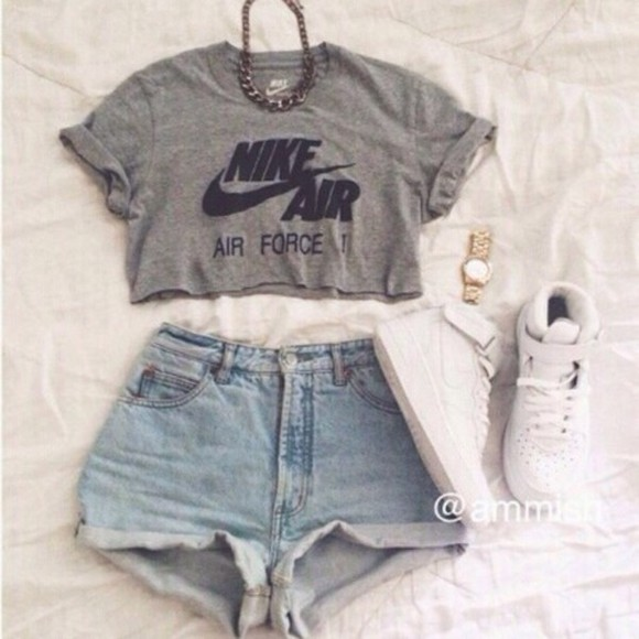 cropped nike air style t-shirt grey t-shirt grey's anatomy swag top blvck blouse