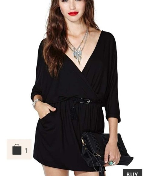 nastygal dress soft grunge little black dress cute black dress wrap dress summer dress summer outfits