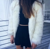 coat,fur,fur coat,fluffy,white fur coat,white fur,white fur jacket,halter crop top,halter top,black top,black crop top,black skirt,grunge,grunge top,grunge wishlist,alternative,cute,hipster,pale,stylish,style,trendy,tumblr outfit,tumblr top,tumblr,tumblr clothes,date outfit,pretty,instagram,blogger,fashionista,rad,on point clothing