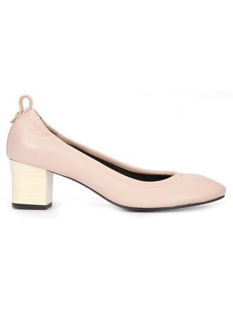 heel women pumps leather purple pink shoes