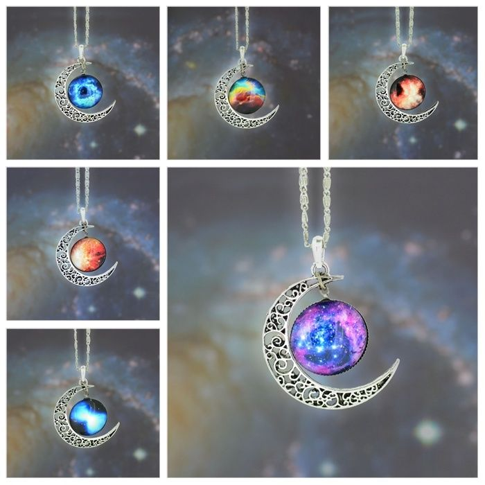 New Galactic Univers Glass Cabochon Pendant Silver Tone Crescent Moon Necklace | eBay