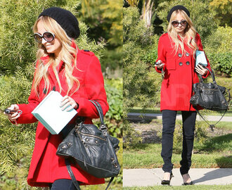 red coat coat red winter outfits winter coat red winter coat love cute girl nicole richie