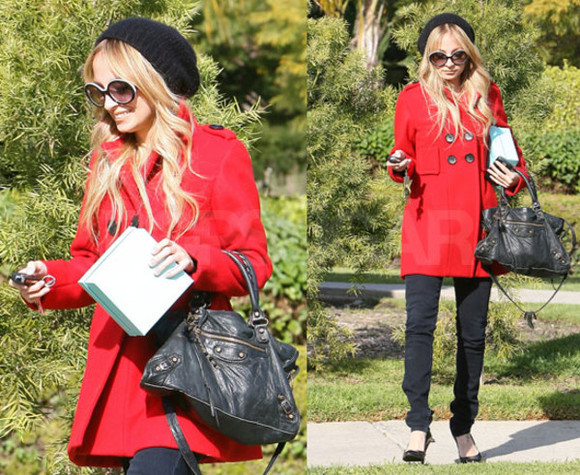 red coat coat red winter winter coat red winter coat love cute girl nicole richie