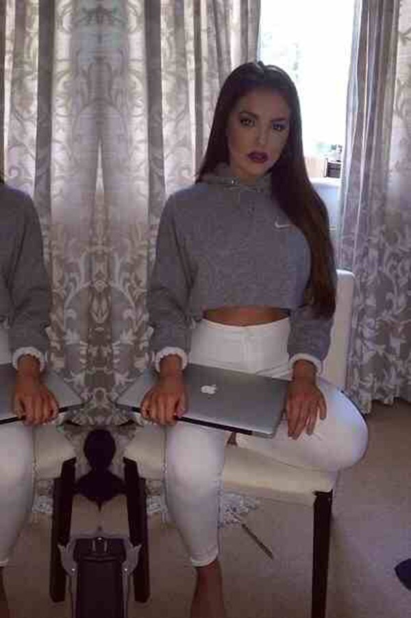 nike grey cropped sweater