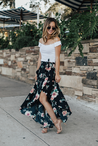 skirt asymmetrical skirt floral printed skirt off the shoulder top sandals blogger blogger style