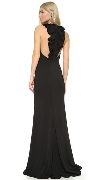 gown back ruffle black dress