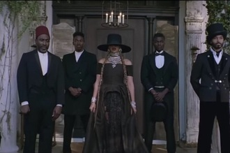 dress slayonce beyonce beyonce fashion beyonce dress beyonce dress black black dress off the shoulder long dress black hat statement necklace statement earrings stacked necklaces stacked bracelets slay jewels necklace jewelry celebrity style celebrity celebstyle for less silver necklace statement