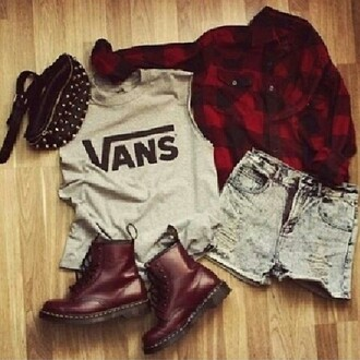 shoes vans shorts black red nieten t-shirt tank top