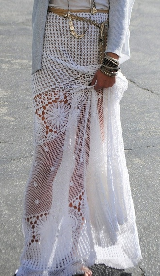 skirt crochet white knit long necklace bracelets lace skirt see through cardigan boho white dress dress belt gold white knit white knit cover up gold belt boho chic white knit dress white cover up knitted dress knit cover up vute cute cover up cute dress cute summer boho dress maxi dress maxi summer dress